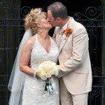 Gary-Tess-WeddingTess-Gary-outside-church