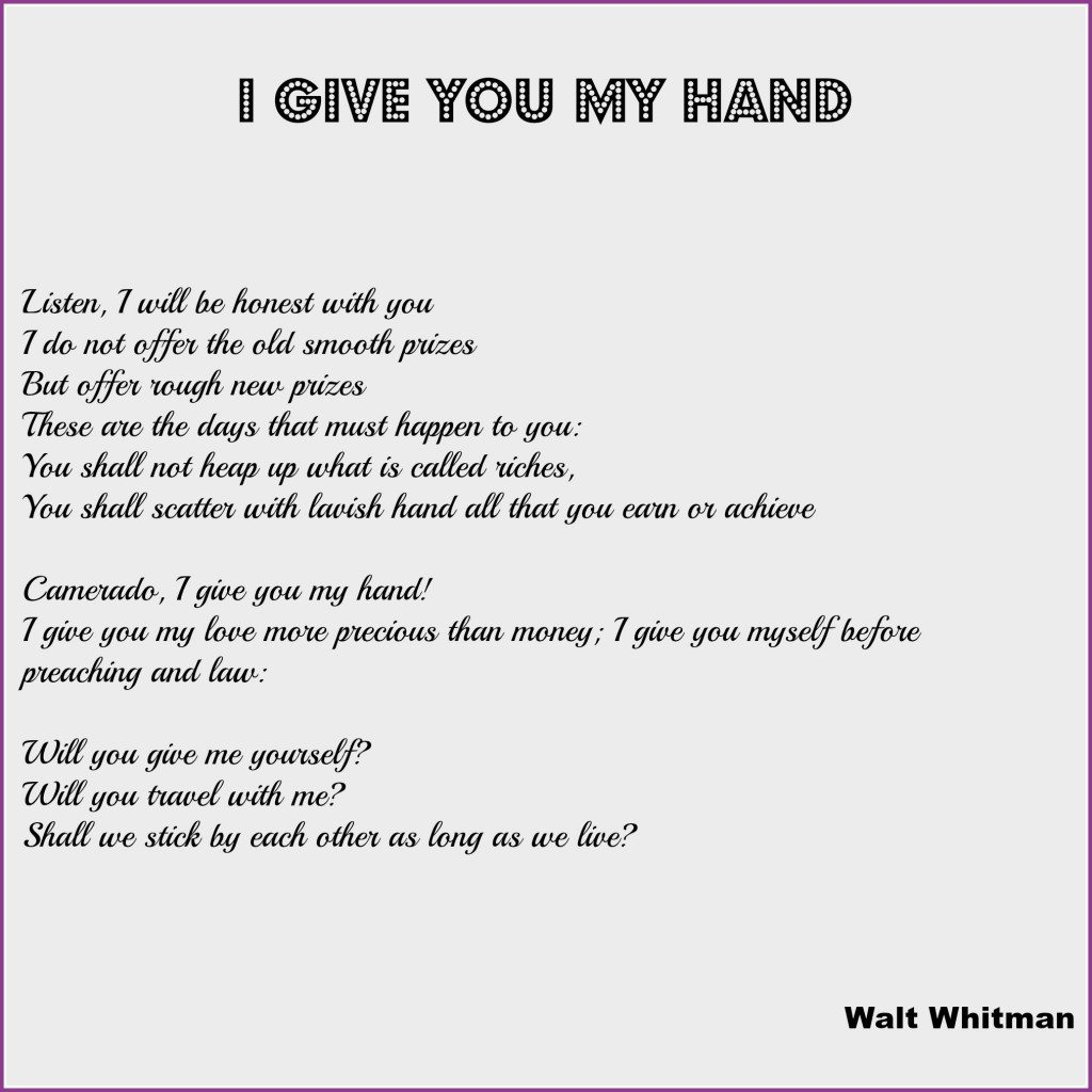 I give you my hand