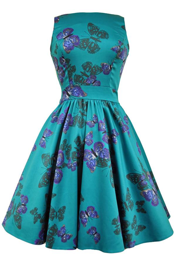 Teal Butterfly Tea Dress