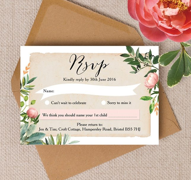 Floral Blush Pink Peach Green Flowers Wedding RSVP