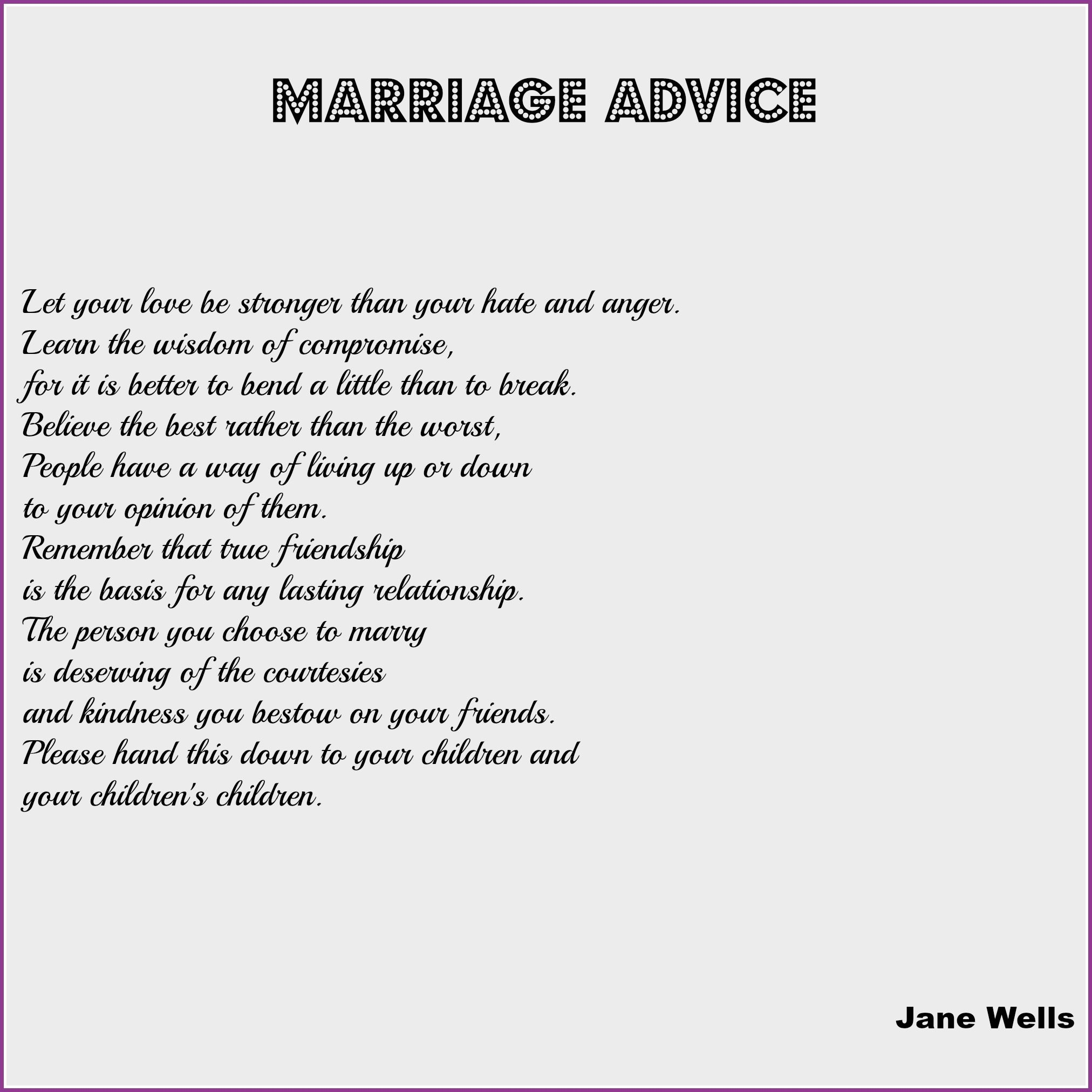 Wedding Reading: Marriage Advice