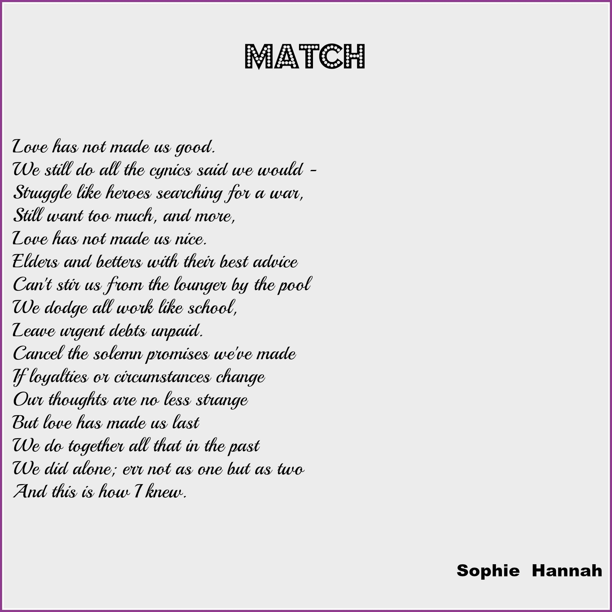Wedding Reading: Match